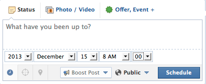 Page Post Scheduling Interface [Before]